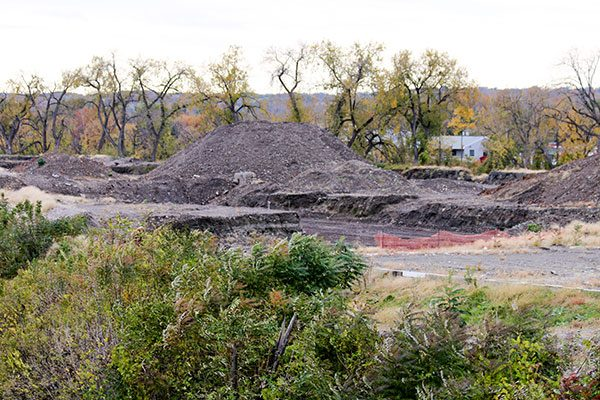 Pile of excavated dirt on the Starbuck Island job site
