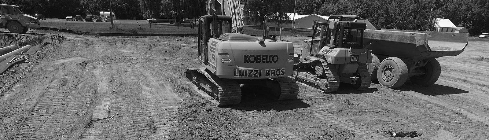 Luizzi Bros Excavation Equipment on a job site