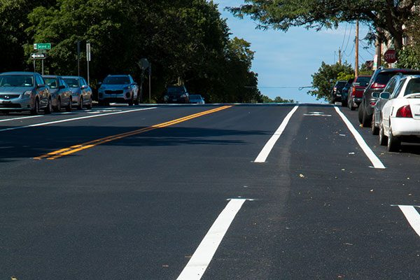 Newly paved road with freshly painted lines
