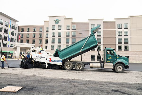 Luizzi Bros paving the parking lot at Homewood Suites
