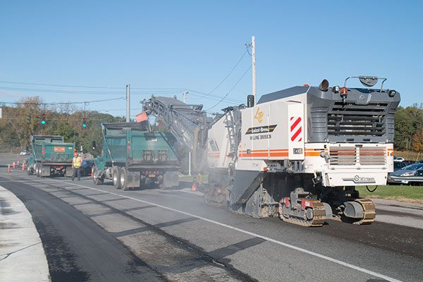 Luizzi Bros performs surface milling on Albany Shaker Road