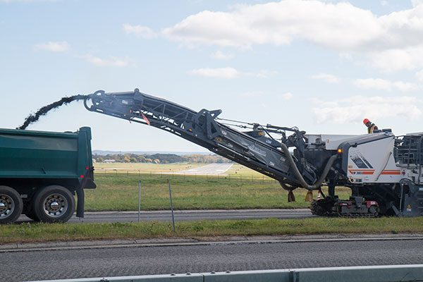Asphalt milling machine in-use