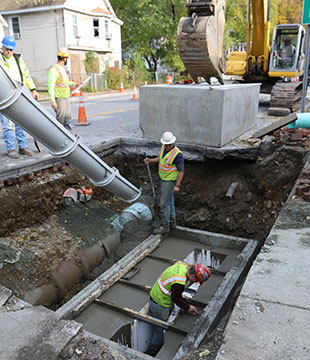 Luizzi Bros pour cement during the stormwater reconstruction project in Amsterdam NY