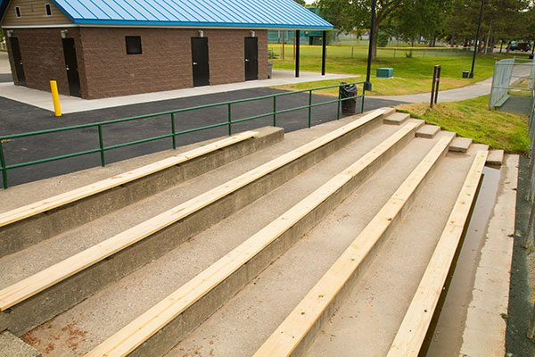 Newly constructed bleachers in Arbor Hill, Albany NY