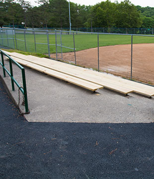 New wood bleachers at Arbor Hill ball field