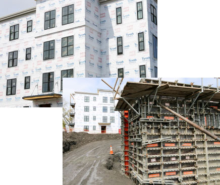 Commercial construction photo collage