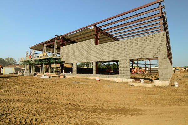 Building exterior with concrete blocks