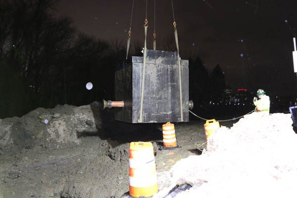 The PRV Vault suspended by the crane