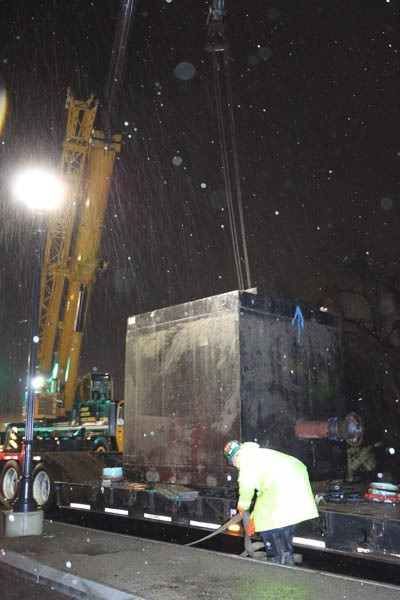 Crane holding the PRV Vault