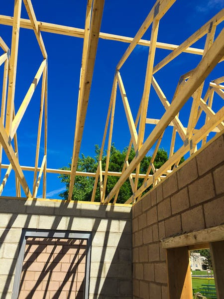 Concession Stand roof being framed