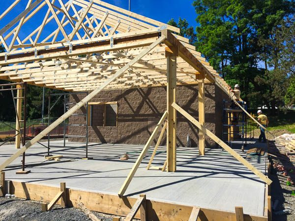Concession Stand wood framed awning