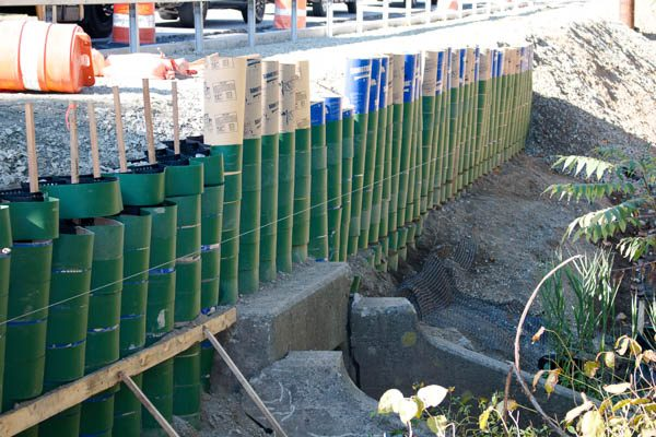 retaining wall side view
