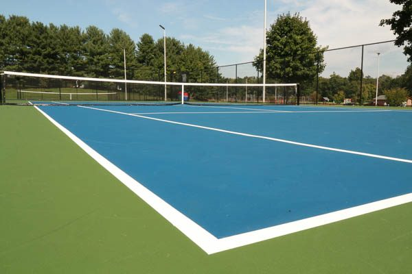 Side angle of the tennis court