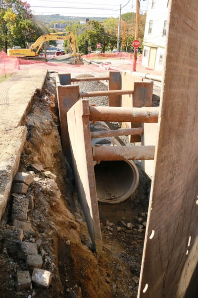open sewer pipe on sage ave