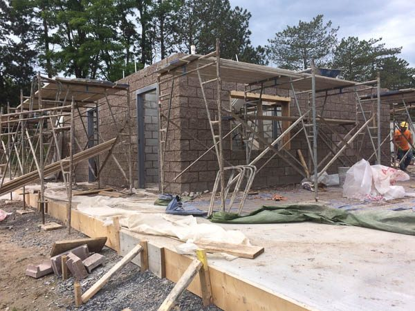 Concession Stand block walls being constructed
