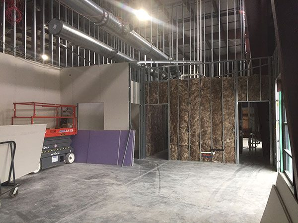 Interior view of commercial space, under construction
