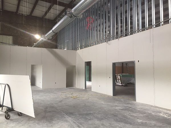 Interior of office and warehouse under construction