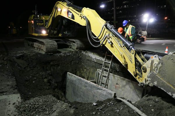 Excavator in the trench box