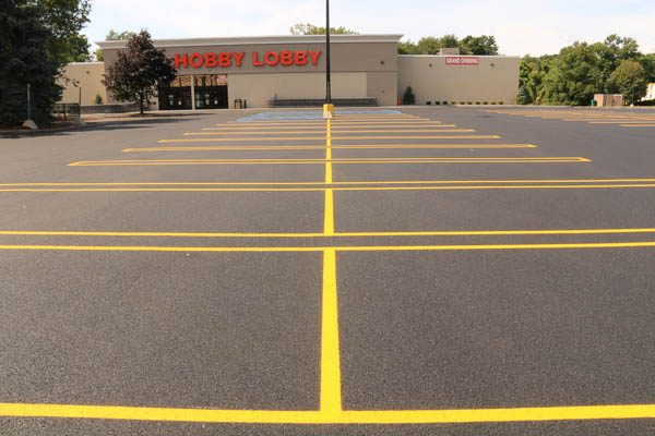 Striped finished parking lot