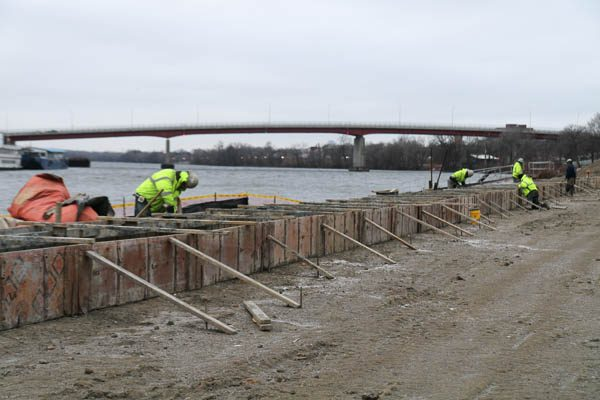 crew making forms for the sea wall