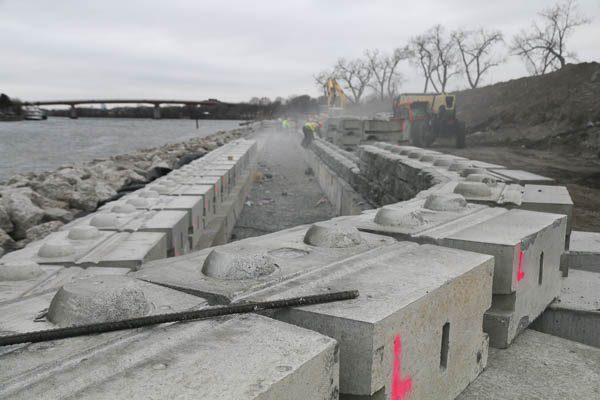 sea wall under construction