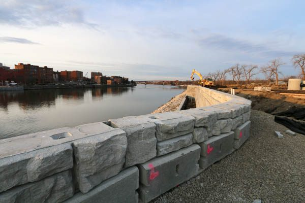 Planter area of the sea wall