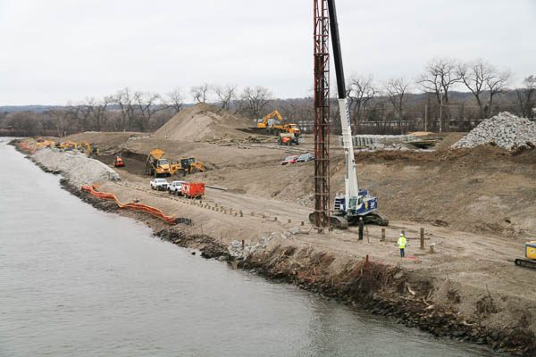 full view of Starbuck Island getting timber piles