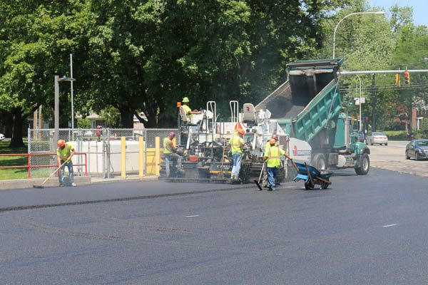 Firehouse Parking Lot crew paving