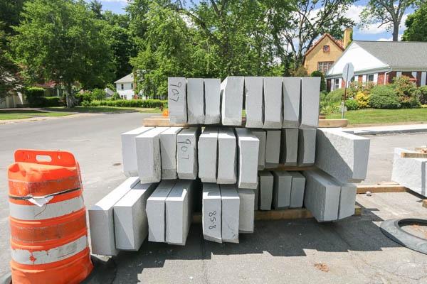 Decamp Ave curb blocks