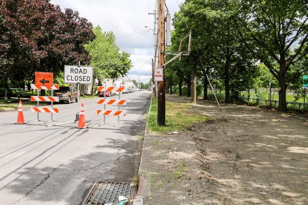 Watervliet Bike Path road closure signs