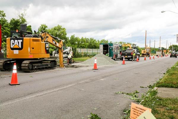 Watervliet Bike Path excavating roadside