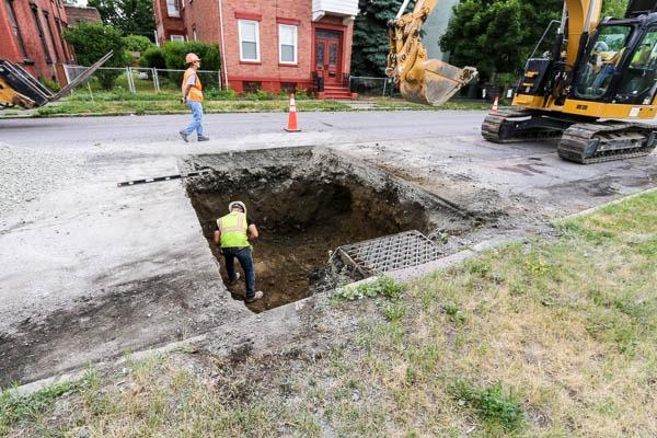Watervliet Bike Path worker in excavated hole