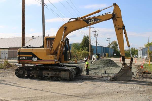 excavator on site