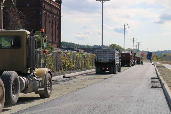 Dump trucks lined up